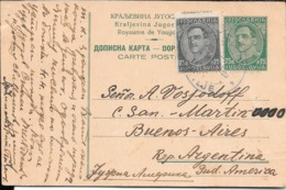 YOUGOUSLAVIE YUGOESLAVIA ENTIER CIRCULEE AVEC OTHER TIMBRE CIRCULEE 1933 A BUENOS AIRES ARGENTINIEN RARISIME CIRCULATION - Ganzsachen