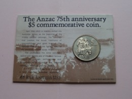 The ANZAC 75th Anniversary $5 Commemorative Coin > 1990 ( For Grade, Please See Photo ) ! - Monnaie Décimale (1966-...)