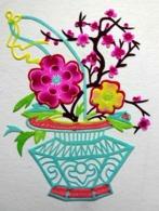 10 DECOUPIS CHINOIS   FLEURS DANS UN PANIER OU UN VASE    PAPIER DE SOIE  CHINE  +-  10 / 13  Cm   POCHETTE - Flowers