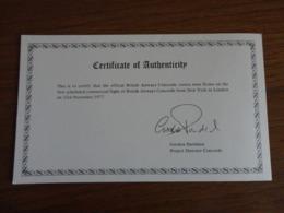 Certificat D'authenticité Du Premier Vol Commercial Concorde Londres - New York 22/11/77 Et New York - Londres 23/11/77 - Flight Certificates