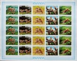Rwanda Ruanda 1987 OBCn° 1310-1314 Non Dentélé Ongetand *** MNH  Cote 220 Euro Faune Feuillet Complète - 1980-89: Neufs