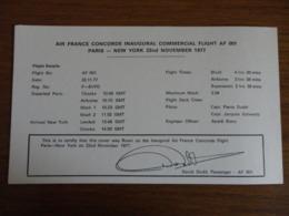 Certificat D'authenticité Du Premier Vol Commercial Concorde Paris- New York 22/11/77 Et New York - Paris 23/11/77 - Flight Certificates