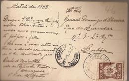Portugal & Marcofilia, P.C Paris, Vila Nova De Milfontes A Lisboa 1938 (4920) - 1910-... République