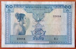 Lao Laos 10 Kip 1962 F/VF P-10a Sign.1 - Laos