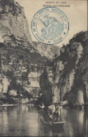 Guerre 14 Cachet Bleu Déesse Assise Hôpital Auxiliaire N°111 Mende Service De Santé CPA Gorges Du Tan Sortie Détroits - Storia Postale