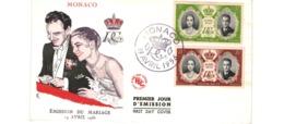 Enveloppe Premier Jour / Monaco   / Emission Du Mariage / 19 Avril 1956 - FDC