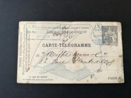 Carte Télégramme.Chaplain.Cachet Hotel Paris - Entiers Postaux