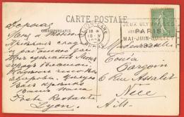 MARCOPHILIE- Oblitération Mécanique - LYON Gare- Jeux Olympiques De PARIS -Mai-Juin-Juillet 1924-S/ C.P LYON - Marcophilie (Lettres)