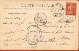 Carte Postale De Carcassonne à PéKin-Chine-  1907 Suivie à Ceheng Tao Adréssée à Inspecteur De La Voie,Chemin De Fer - Curiosidades: 1900-20 Cartas