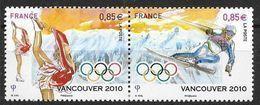 France 2010 N° P 4436 Neufs Se Tenant, Jeux Olympiques De Vancouver Patinage Et Ski, à La Faciale - France