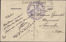Guerre 14 Cachet Déesse Assise Train Sanitaire Semi Permanent N°8 B Le Médecin Chef + Cachet 14e Région Poste De La Gare - Marcophilie (Lettres)