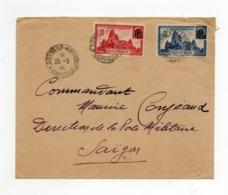 !!! PRIX FIXE : INDOCHINE, LETTRE DE SIEMREAP (CAMBODGE) DE 1946, AFFRANCHIE AVEC N°222/223 - Indochine (1889-1945)