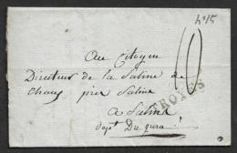 LAC - 9 TROYES (AUBE) - Au DIRECTEUR DE LA SALINE DE CHAUX - Texte Faisant Référence à L'achat De Sel - Poststempel (Briefe)
