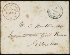 1891. GIBRALTAR INTERNAL MAIL. ENVELOPE WITHOUT CONTENT TO THE SUPER INTENDENT OF CIVIL PRISON. - Gibraltar