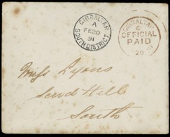 1891. GIBRALTAR INTERNAL MAIL. ENVELOPE WITHOUT CONTENT. GIBRALTAR/SOUTH DISTRICT BLACK AND OFFICIAL PAID RED. - Gibraltar