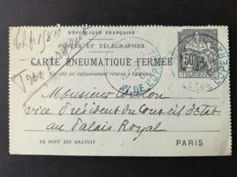 Carte Pneumatique Fermée.Paris Av De L'opéra - Pneumatiques