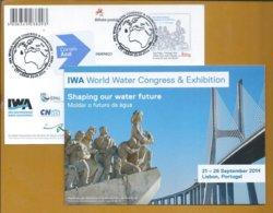 Postal Stationey Water. Wasser. World Water Congress. Stylized World Map. Vasco Da Gama Bridge. Discoveries Pattern. - Eau