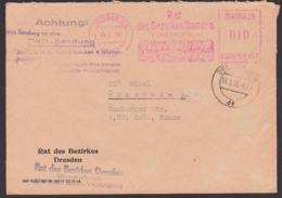 """Dresden ZKD-AFS Ortsbrief Rat Des Bezirkes Mit Propaganda """"Unsere Ganze Kraft Dem Fünfjahrplan!"""" Aufbwahrungsst. - [6] République Démocratique"""