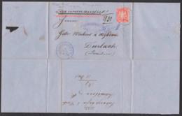 """Ludwigshafen Bayern 1872, 3 Kr. Rosa Auf Blauem Brief U. Blauem Schreibschriftstempel """"Charge"""", Reg.-Bug Nach Durbach - Bayern"""