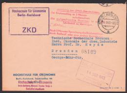 Berlin - Karlshorst ZKD-Kastenstempel,  Hochschule Für Ökonomie, Mit Rotem Aufbewahrungsst., 13.9.63 - [6] Democratic Republic