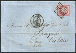 Sarthe - Petits Chiffres 1855 - Le Mans - N° 17B Rose - C à D Type 15 - LAC - Filet Du Haut Légèrement Touché - Marcophilie (Lettres)
