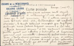 Cachet Bleu Escadre De La Méditerranée Escadre Légère Jeanne D'Arc 1907 CPA Tangier Moors Beggars FM Texte - Marcophilie (Lettres)