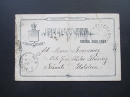 Altdeutschland Helgoland 1889 Ganzsache P 6 Heligoland - Grömitz über Hamburg Mit Ak Stempel Altona Pastor Glüsing - Heligoland
