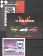 J961 MALDIVES TRANSPORT CARS THE WORLD OF PONTIAC TRANS-AM !!! 1BL+2KB MNH - Auto's