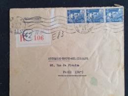RECOMMANDE PARIS 42 - Gandon YT 718A X 3 - 26 Mars 1947 - Marcophilie (Lettres)