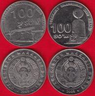 """Uzbekistan Set Of 2 Coins: 100 Som 2009 """"2200th Ann. Of Tashkent"""" AU-UNC - Uzbenisktán"""