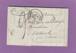 """LETTRE DE REIMS,1837, POUR LUBBECK PRES DE TIRLEMONT AVEC CACHET """"FRANCE PAR DINANT"""". - Poststempel (Briefe)"""