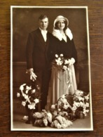 Oude Foto -postkaart Sepia  Huwelijk  Door OMER D' HAESE  AALST - Personnes Identifiées