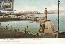 Callao Reloj De La Darsena . Faro Lighthouse  . Undivided Back  . Hand Colored. Muelle De Desembarque . Edicion Pollack - Pérou