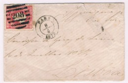 Portugal, 1870/6, # 40 Dent. 12 3/4, Tipo XIII, Faro-Lisboa - Briefe U. Dokumente