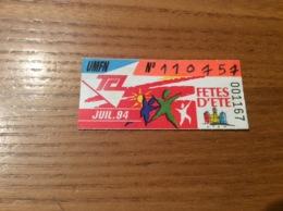 Ticket De Transport (Bus, Métro, Tramway) TCL Abonnement «JUIL 94 -UMFN (FETES D'ETE)» LYON(69) - Autobus