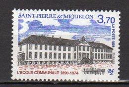 Saint-Pierre Et Miquelon Yvert N° 607 Neuf L'Ecole Communale Vue De La Façade Lot 22-109 - St.Pierre & Miquelon