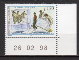 Saint-Pierre Et Miquelon Yvert N° 672 Neuf Coin Daté26 02 98 Le Travail De La Glace Lot 22-173 - Nuovi