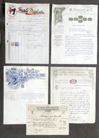 Lotto 5 Fatture Aziende E Ditte Di Casale Monferrato - 1869 / 1939 - Pubblicitari