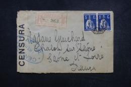 PORTUGAL - Enveloppe En Recommandé De Lisbonne Pour La France En 1915 Avec Contrôle Postal - 45663 - 1910-... République