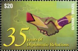 Ref. 159081 * NEW *  - GUYANA . 2004. 35TH ANNIVERSARY OF DIPLOMATIC RELATIONS WITH BRAZIL. 35 ANIVERSARIO DE LAS RELA - Guyana (1966-...)