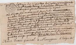 VP15.973 - Cachet De Généralité De LIMOGES - BENEVENT 1784 - Généalogie - Acte D'Inhumation De Mr A. AUVIAT Ou AURIAT ?? - Cachets Généralité