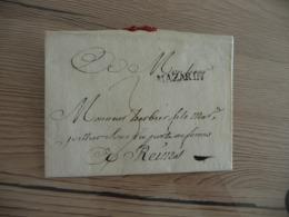 Lettre France Précurseurs XVIII ème Griffe Noire Mazarin Ardennes 20/07/179 Pour Reims - 1701-1800: Precursors XVIII