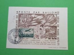 Ballon Siège De Paris 1870-1871 , 75 Eme Anniversaire De La Poste Par Ballon Guerre Militaria Général Cambronne - Montgolfières
