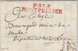 P.33.P MONTPELLIER (rouge - Superbe) : Pour Le Maire De Mende. - 1801-1848: Voorlopers XIX