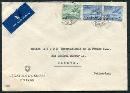 1950 Iraq Swiss Consulate Airmail Cover, Baghdad - Argus Press Agency, Geneva Switzerland. Legation De Suisse En Irak - Iraq