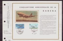 BELGIQUE DOCUMENT DE LA POSTE DU 19 MAI 1973 BRUXELLES CINQUANTIEME ANNIVERSAIRE DE LA SABENA - Documents Of Postal Services