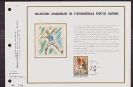 BELGIQUE DOCUMENT DE LA POSTE DU 12 MAI 1973 PATURAGES SOIXANTIEME ANNIVERSAIRE DE L INTERNATIONALE SPORTIVE OUVRIERE - Documents Of Postal Services