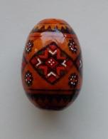 Wooden Egg Oeuf En Bois Folk Art Hand Painted Fait Main - Eier