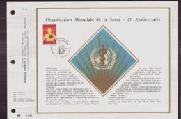 BELGIQUE DOCUMENT DE LA POSTE DU 7 AVRIL 1973 DINANT ORGANISATION MONDIALE DE LA SANTE - Documents Of Postal Services