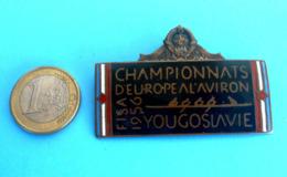 1956 FISA EUROPEAN ROWING CHAMPIONSHIP - Large Participant Enamel Badge * Aviron Rudersport Rudern Rudernd Remo Remare - Rowing